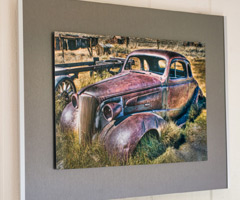 Chromaluxe HD metal print standout float mounted to brushed stainless Dibond